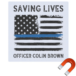 """Blue Line Police Square Car Magnet - 6"""" (Personalized)"""