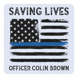 Blue Line Police Square Decal - Medium (Personalized)