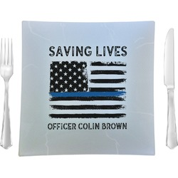 """Blue Line Police Glass Square Lunch / Dinner Plate 9.5"""" - Single or Set of 4 (Personalized)"""