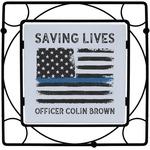 Blue Line Police Square Trivet (Personalized)