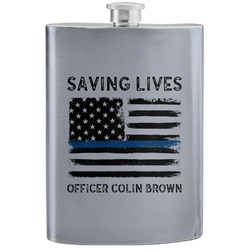 Blue Line Police Stainless Steel Flask (Personalized)