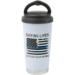 Blue Line Police Stainless Steel Travel Mug (Personalized)