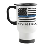 Blue Line Police Stainless Steel Travel Mug with Handle