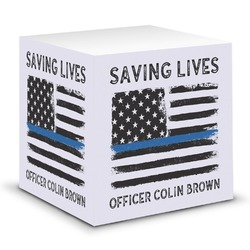 Blue Line Police Sticky Note Cube (Personalized)