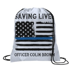 Blue Line Police Drawstring Backpack - Medium (Personalized)