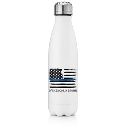 Blue Line Police Tapered Water Bottle - 17 oz. - Stainless Steel (Personalized)