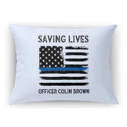 Blue Line Police Rectangular Throw Pillow Case (Personalized)