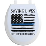 Blue Line Police Toilet Seat Decal (Personalized)