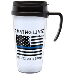Blue Line Police Travel Mug with Handle (Personalized)