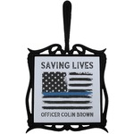 Blue Line Police Trivet with Handle (Personalized)