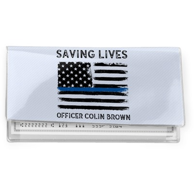 Blue Line Police Vinyl Checkbook Cover (Personalized)
