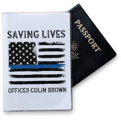 Blue Line Police Vinyl Passport Holder (Personalized)
