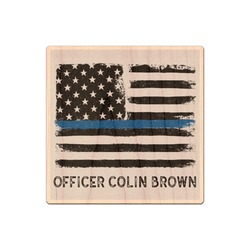 Blue Line Police Genuine Maple or Cherry Wood Sticker (Personalized)