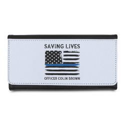 Blue Line Police Leatherette Ladies Wallet (Personalized)