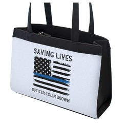 Blue Line Police Zippered Everyday Tote (Personalized)