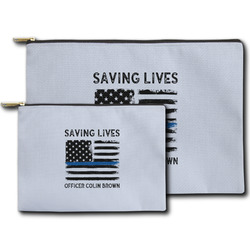 Blue Line Police Zipper Pouch (Personalized)