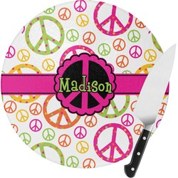 Peace Sign Round Glass Cutting Board - Small (Personalized)