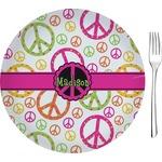 Peace Sign Glass Appetizer / Dessert Plates 8