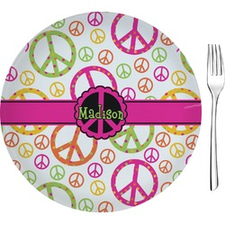 """Peace Sign Glass Appetizer / Dessert Plate 8"""" (Personalized)"""