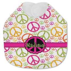 Peace Sign Jersey Knit Baby Bib w/ Name or Text