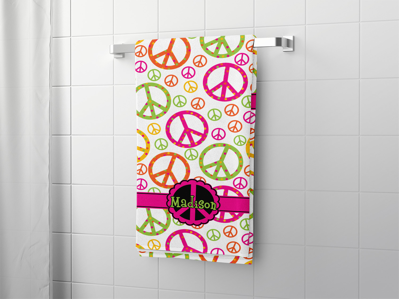 Peace Sign Bath Towel Personalized, Peace Sign Bathroom