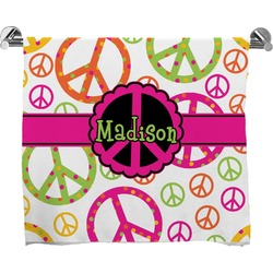 Peace Sign Full Print Bath Towel (Personalized)