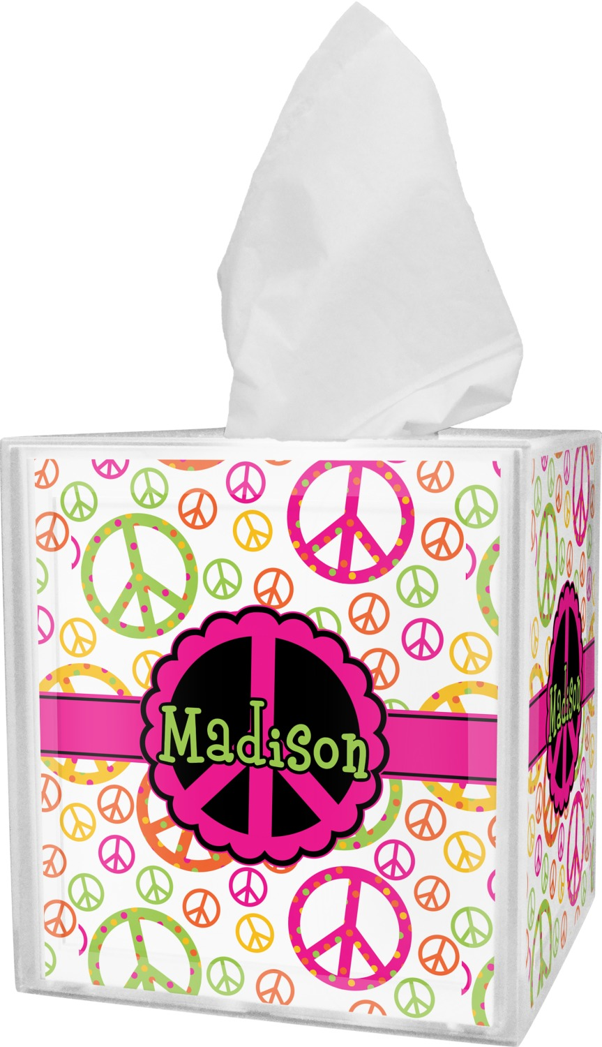 Peace Sign Tissue Box Cover Personalized