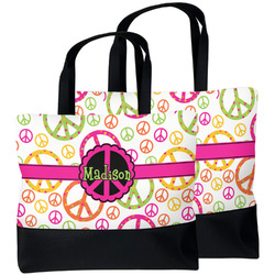 Peace Sign Beach Tote Bag (Personalized)
