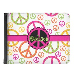 Peace Sign Genuine Leather Men's Bi-fold Wallet (Personalized)