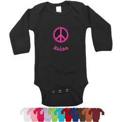 Peace Sign Bodysuit - Black (Personalized)