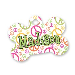 Peace Sign Bone Shaped Dog Tag (Personalized)