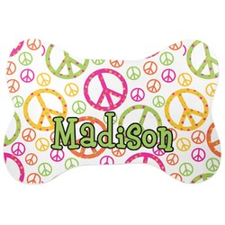 Peace Sign Bone Shaped Dog Food Mat (Personalized)