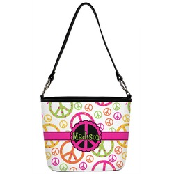 Peace Sign Bucket Bag w/ Genuine Leather Trim (Personalized)