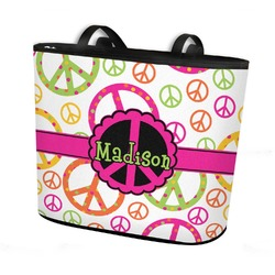 Peace Sign Bucket Tote w/ Genuine Leather Trim (Personalized)