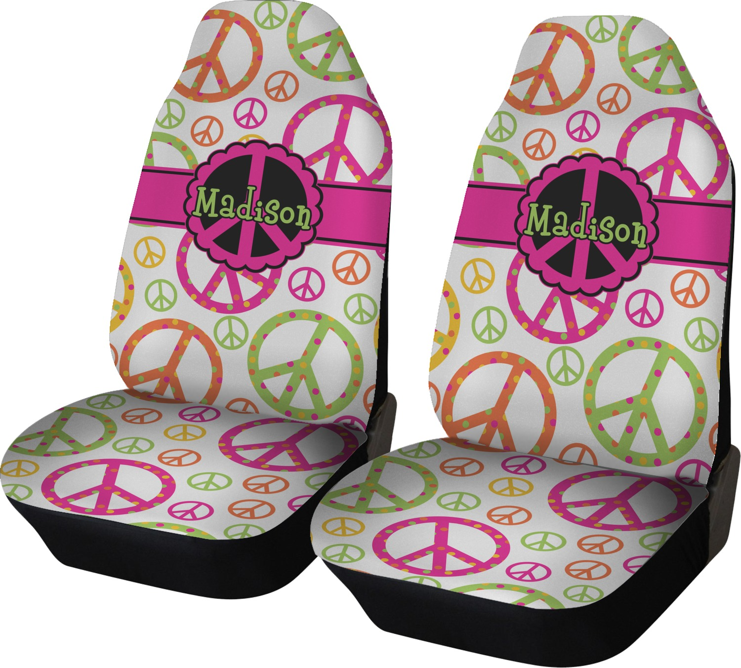 Peace Sign Car Seat Covers Set Of Two Personalized Youcustomizeit