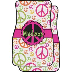 Peace Sign Car Floor Mats (Front Seat) (Personalized)