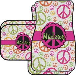 Peace Sign Car Floor Mats Set - 2 Front & 2 Back (Personalized)