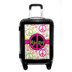 Peace Sign Carry On Hard Shell Suitcase (Personalized)