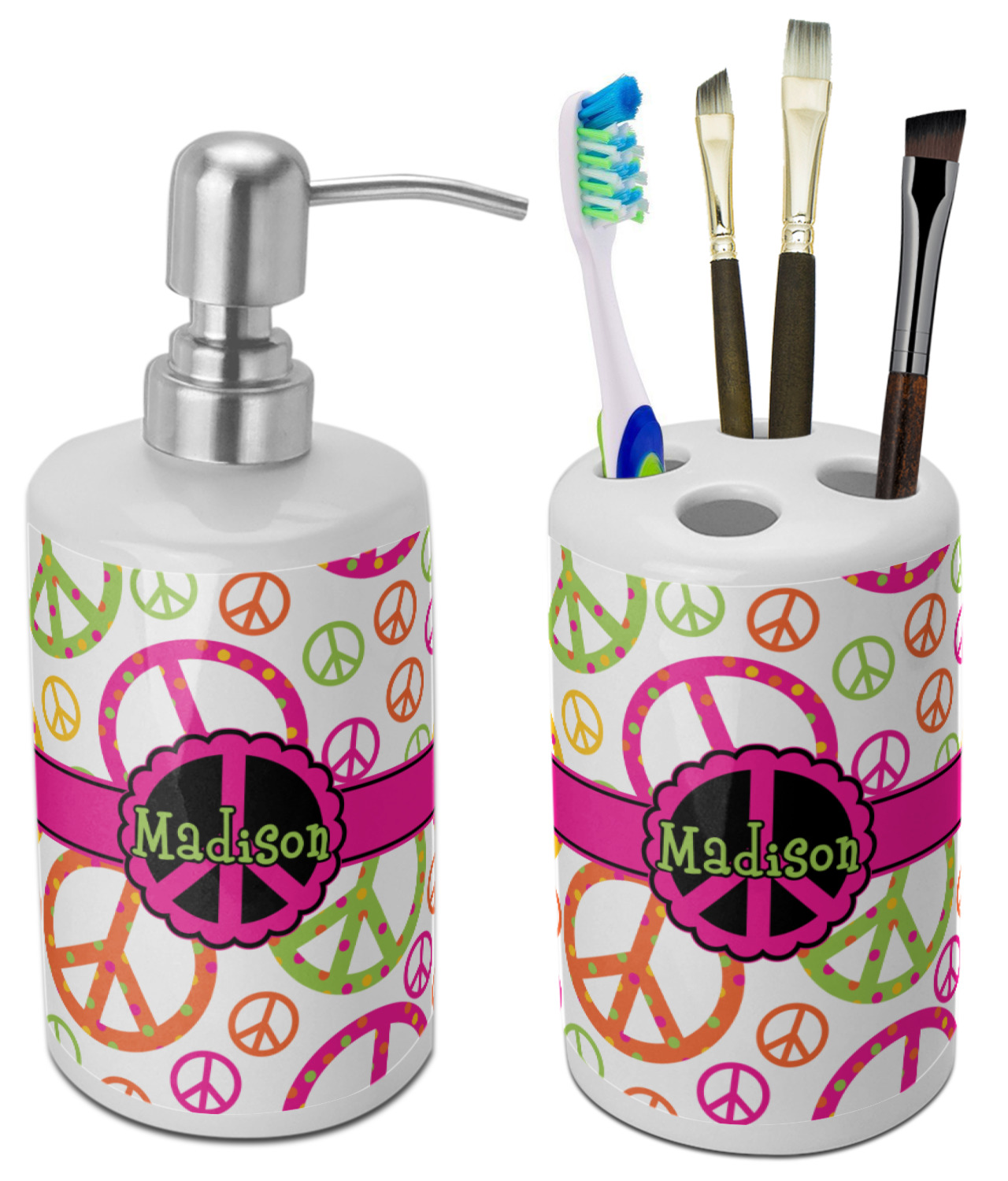 Peace Sign Bathroom Accessories Set Ceramic Personalized