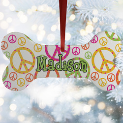 Peace Sign Ceramic Dog Ornaments w/ Name or Text