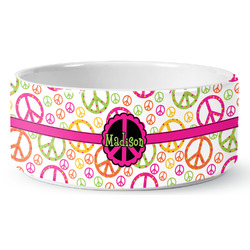 Peace Sign Ceramic Dog Bowl (Personalized)