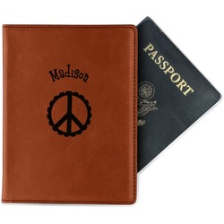 Peace Sign Leatherette Passport Holder (Personalized)