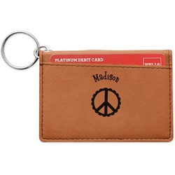 Peace Sign Leatherette Keychain ID Holder (Personalized)