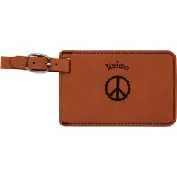 Peace Sign Leatherette Luggage Tag (Personalized)