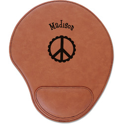 Peace Sign Leatherette Mouse Pad with Wrist Support (Personalized)