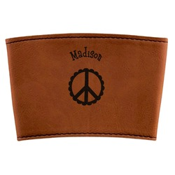 Peace Sign Leatherette Cup Sleeve (Personalized)