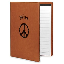 Peace Sign Leatherette Portfolio with Notepad (Personalized)