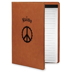 Peace Sign Leatherette Portfolio with Notepad - Small - Single Sided (Personalized)