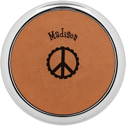 Peace Sign Leatherette Round Coaster w/ Silver Edge - Single or Set (Personalized)