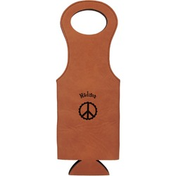 Peace Sign Leatherette Wine Tote (Personalized)